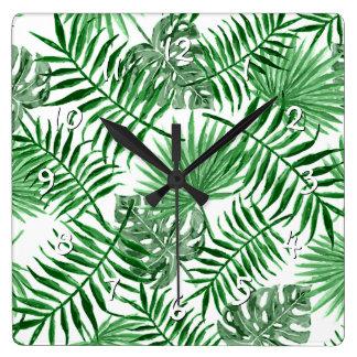 Reloj Cuadrado Modelo verde tropical del verano de las hojas de