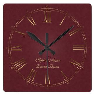 Reloj Cuadrado Monograma real del número romano de Borgoña del