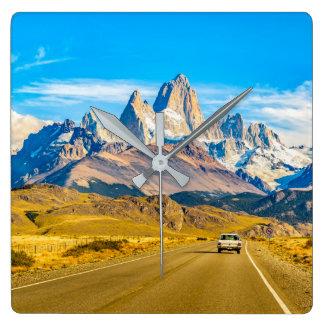Reloj Cuadrado Montañas Nevado los Andes, EL Chalten, la
