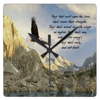 Reloj Cuadrado Monte para arriba con las alas como Eagles Isaías