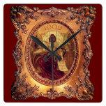Reloj Cuadrado Mujer victoriana en elegante marco victoriano
