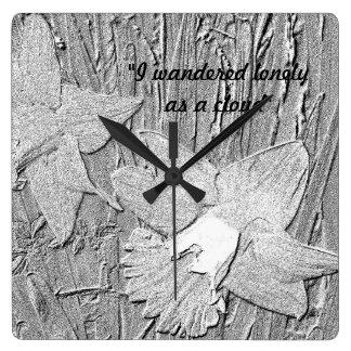 Reloj Cuadrado Narcisos blancos y negros del estilo del dibujo de