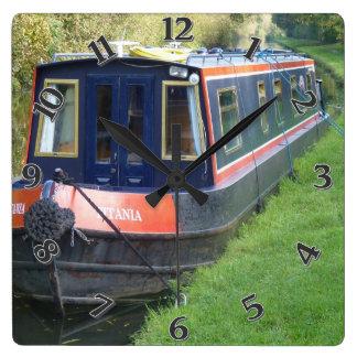Reloj Cuadrado Narrowboat en sistema británico de las vías