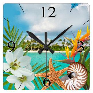 Reloj Cuadrado Nautilus del Frangipani del Plumeria de la playa
