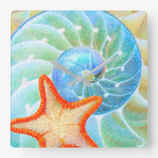 Reloj Cuadrado Nautilus y estrellas de mar