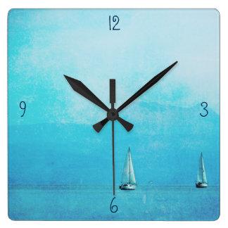 Reloj Cuadrado navegación del azul
