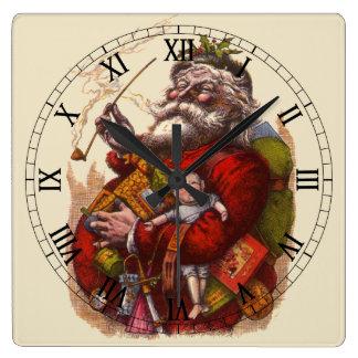 Reloj Cuadrado Navidad del vintage, juguetes del tubo de Papá