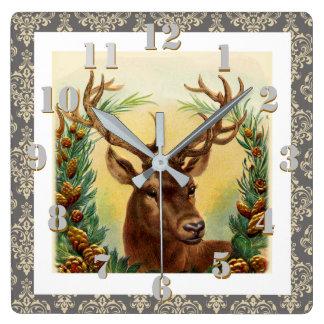 Reloj Cuadrado Navidad elegante del vintage de los ciervos