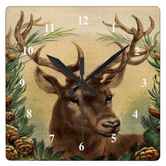 Reloj Cuadrado Navidad rústico de la naturaleza del macho del
