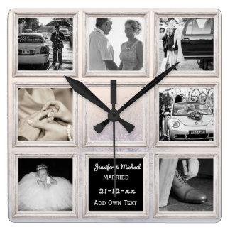 Reloj Cuadrado Nieve del collage o del aniversario de la foto del