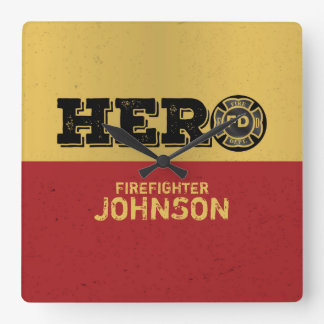 Reloj Cuadrado Nombre de encargo, héroe del bombero