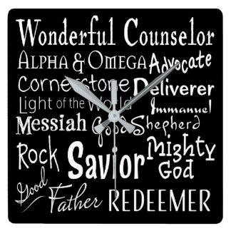 Reloj Cuadrado Nombres de dios de la biblia en blanco y negro