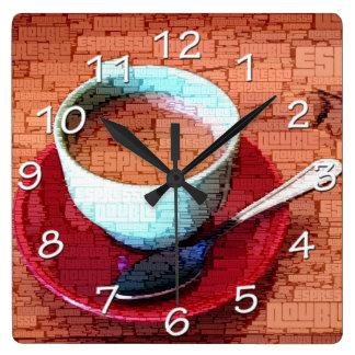 Reloj Cuadrado Nube de la palabra de la taza y de la cuchara del