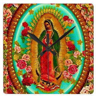 Reloj Cuadrado Nuestro Virgen María mexicano del santo de señora