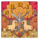 Reloj Cuadrado Nuevos árboles de otoño y caídas victorianas de ci