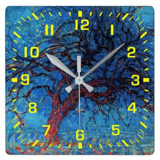 Reloj Cuadrado Números amarillos/Piet Mondrian, igualando: Árbol