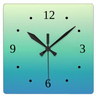 Reloj Cuadrado Números de la pendiente del verde azul