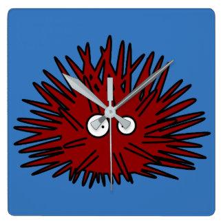 Reloj Cuadrado Océano rojo Uni espinoso del erizo del erizo de