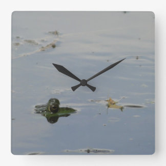 Reloj Cuadrado Ojos de la rana que miran a escondidas encima del