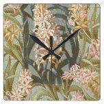 Reloj Cuadrado Ornamental del rosa de los lirios del pantano del
