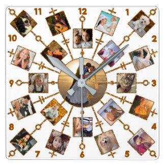 Reloj Cuadrado Oro blanco bonito de las imágenes del collage 21