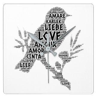 Reloj Cuadrado Pájaro ilustrado con palabra del amor