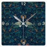Reloj Cuadrado Pájaros florales del vintage de William Morris