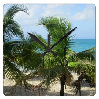 Reloj Cuadrado Palmeras tropicales