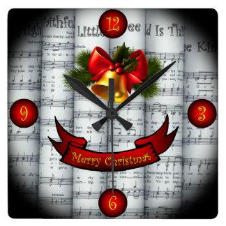 Reloj Cuadrado Partitura rodada ~ del navidad de Bell~