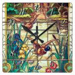 Reloj Cuadrado Patos mallard de vidrio manchado en el estanque
