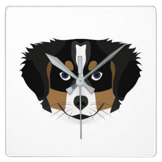 Reloj Cuadrado Perro de montaña de Bernese del ilustracion