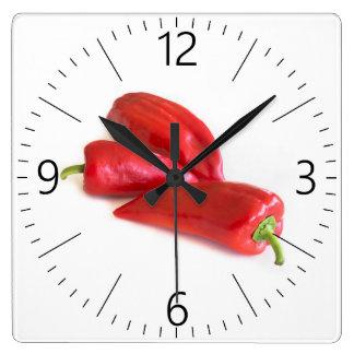 Reloj Cuadrado Pimienta roja
