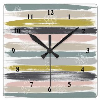 Reloj Cuadrado Pinceladas y arte moderno de los mediados de siglo