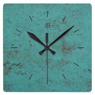 Reloj Cuadrado Pintura azul el | escamosa INDUSTRIAL más letras