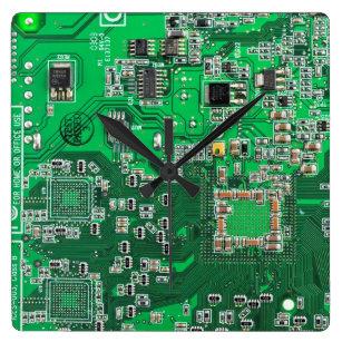 Reloj Cuadrado Placa del circuito del Geek de la computadora verd