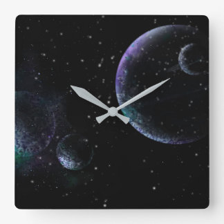 Reloj Cuadrado Planetas en universo