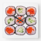 Reloj Cuadrado Plantilla japonesa de la comida de Rolls del sushi