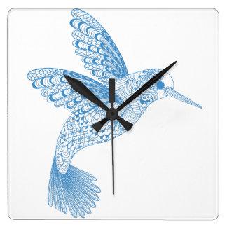 Reloj Cuadrado Plumas de pájaro azules del colibrí