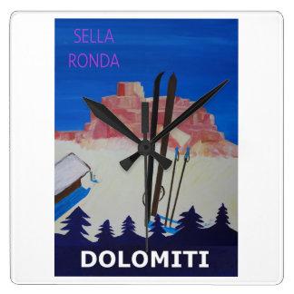 Reloj Cuadrado Poster retro Dolomiti Italia en Sella Ronda