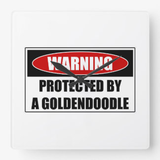 Reloj Cuadrado Protegido por un Goldendoodle