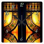 Reloj Cuadrado Puerta de vidrio manchada de Victoria elegante