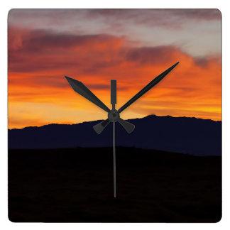 Reloj Cuadrado Puesta del sol sobre Hualalai