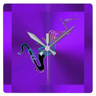 Reloj Cuadrado Púrpura metálica moderna de las notas del saxofón
