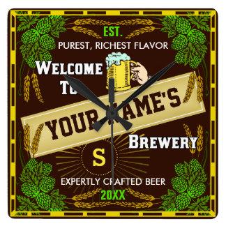 Reloj Cuadrado Recepción personalizada de la cervecería: Cerveza