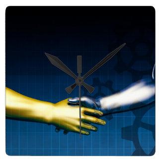 Reloj Cuadrado Red de la integración del negocio con las manos