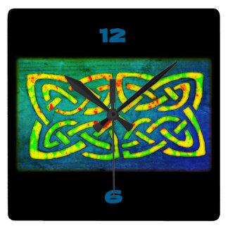 Reloj Cuadrado Reloj, Wanduhr, Celtic Anudas de colores, nudo