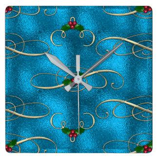 Reloj Cuadrado Remolinos modernos y elegantes del navidad