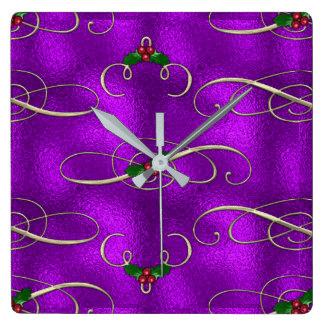 Reloj Cuadrado Remolinos románticos del navidad de la lila