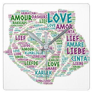 Reloj Cuadrado Rosa ilustrado con palabra del amor