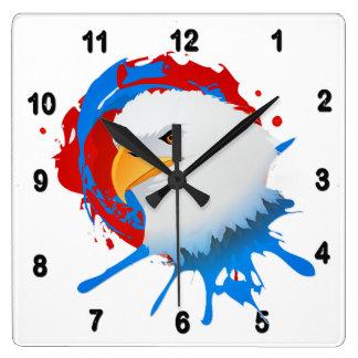 Reloj Cuadrado Salpicón blanco de Eagle y azul rojo calvo